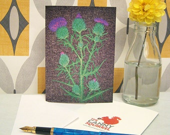 Thistle card, birthday card, greetings card, blank card, Scottish card
