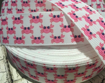 3 yards 1"Pink Nautical CRAB in white grosgrain ribbon