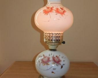 White Milk Glass Hurricane Lamp