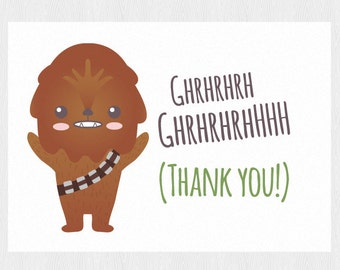 Thank you Star wars printable card with Chewbacca - Thank you card Instant Download - PDF DIY - Printable 6x4 inch