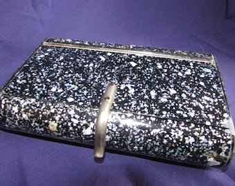 VINTAGE BLACK Pink/Green/Silver Confetti Mother of Pearl Lucite Purse Clutch-BEAUTIFUL B34