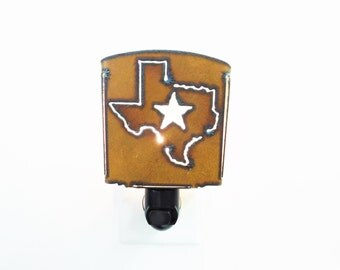 Texas with Star Night Light made out of rusted rustic rusty recycled metal