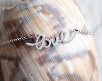 Silver Love Necklace, Gift for Her, Girlfriend, Wife, Best Friend