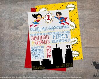 Superhero Birthday Theme Invitation (25 Invitations)