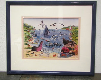 "Vintage SEA SHORE ANIMAL Scene Print by Ed Tectcher, signed and numbered 24/200 * 21"" by 17  1/2"" frame"