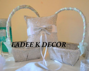 One Bling Ring Bearer Pillow with matching Two Bling Flower girl baskets for your wedding