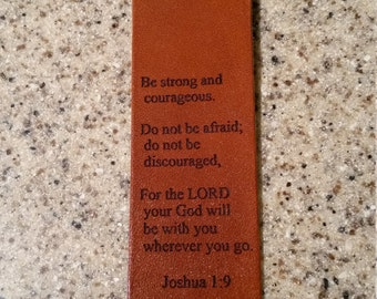 Joshua 1:9 leather book mark, religion, aa recovery, leather book marker, saddle tan