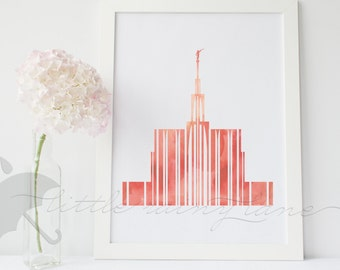 LDS Temple art - Seattle Temple - Customizable - Printable