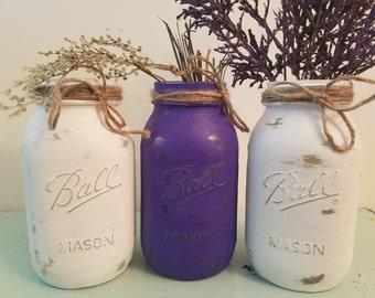 Distressed White and Purple Mason Jar, Painted Mason Jar, Wedding, Baby Shower