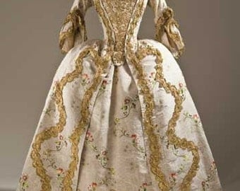 Marie Antoinette Rococo 18th century Custom made to measure gown with hooped petticote gown reinactment the photo is a guide to the style