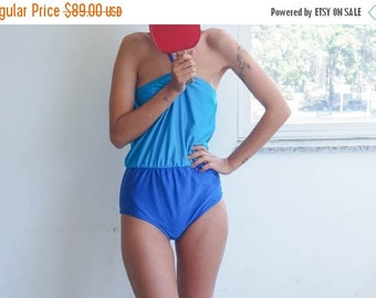Vintage Style Swimsuit in colorblock Turquoise // Blouson Swimsuit