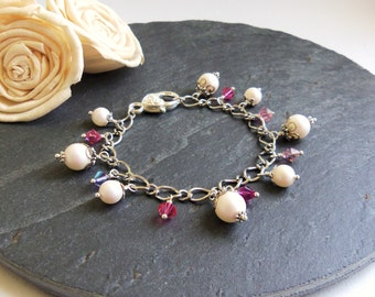 Pearlescent white and pink pearl and crystal bracelet, white pink mix bracelet, Swarovski pearl bracelet, fairytale jewelry, gift for her
