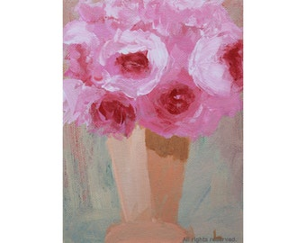 "Oil Painting ''Roses"" Still Live Painting, Fine Art Oil on Canvas, Small Painting Home Decor 13x18cm"