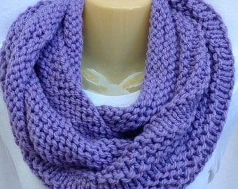 Scarf Knit Scarf Purple Lavender Scarf Hand Knit Chunky Acrylic Cowl Infinity Circle Mobius Scarf- Ready to Ship