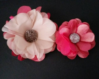 Set of 2 Flower Clips -- pink and creme