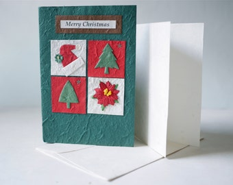 Christmas Cards, holiday card, 4 windows , xmas card, red christmas card, green cover with natural envelop