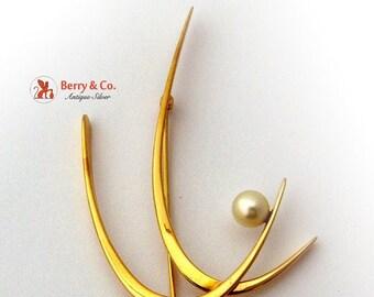 SaLe! sALe! Art Moderne Brooch Pearl 14 K Yellow Gold