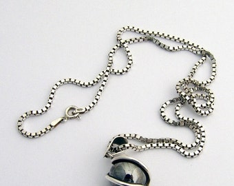 SaLe! sALe! Sterling Hematite Pendant Necklace Swirly Design
