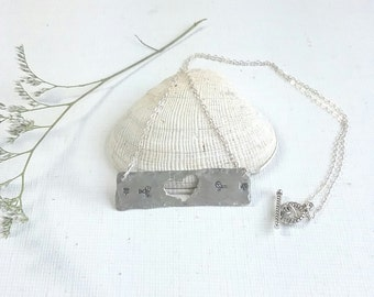 silver bar necklace, hand stamped jewelry, bird necklace, heart necklace, earthy boho necklace