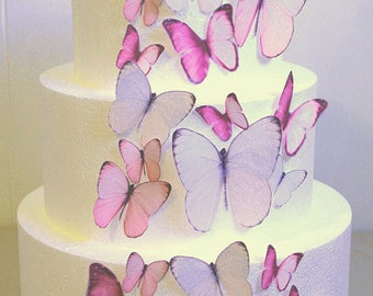 Edible Butterfly Cake Decorations, Light Pink Edible Butterflies, Set of 24 DIY Cake Decor, Edible Cake Decorations, Pink Wedding Cake