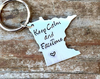 State Keychain, ANY STATE, USA, Minnesota with Custom Phrase - Long Distance Relationship Keychain