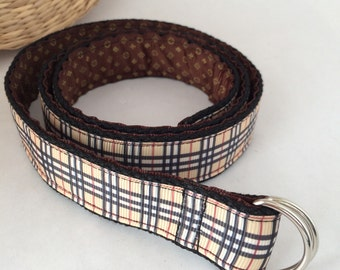 Women's belt, double sided fashion belt with d-ring, brown belt for women, stripy belt