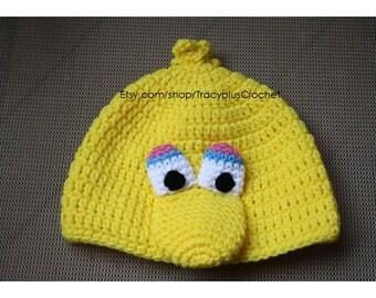 Big bird hat. Crochet Big bird hat. Big bird beanie. Crochet Big bird beanie. Crochet Yellow Bird hat. Handmade Big Bird hat.
