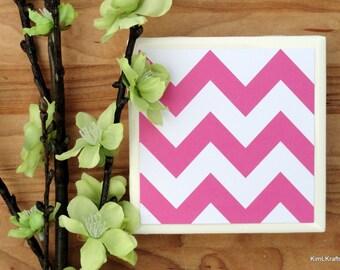Tile Coasters - Chevron Decor - Coasters for Drinks - Coasters Tile - Handmade Coasters - Pink Coasters - Chevron Coasters - Coasters