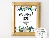 INSTANT DOWNLOAD wedding hashtag sign / printable hashtag sign / custom hashtag sign / oh snap sign / oh snap printable / floral wedding