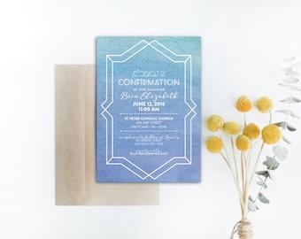 INSTANT DOWNLOAD Confirmation invitation / watercolor confirmation invitation / modern confirmation invitation / geometric confirmation