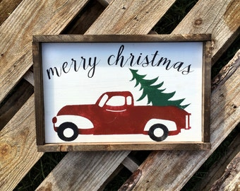 Vintage Christmas Sign /  Christmas Truck Sign / Holiday Sign / Christmas Decor/ Wooden Christmas Sign /  Vintage Holiday Decor