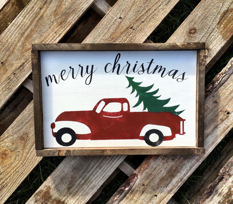 Vintage Christmas Sign / Christmas Truck Sign / Holiday Sign