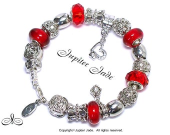 New Authentic Pandora 925 ALE Silver Charm Bracelet with European Charms - Platinum Ruby Red Elegance E231