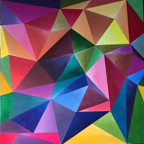 Art mural peinture acrylique g om trique contemporain maison - Peinture murale contemporaine ...