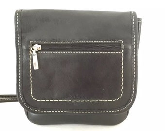 FOSSIL Black Leather Messenger Style Cross-body Handbag