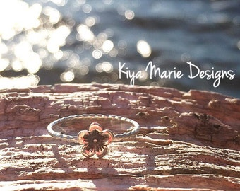 Flower Ring, cherry blossom ring, Skinny band stack ring, Sterling Silver Argentium Silver Stack Rings, Nature flower rings
