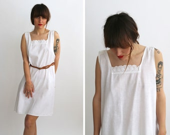 Antique White Lace Slip Dress,  SunDress, Summer Dress from 1900 /  Boho, Romantic / Size Small to Medium