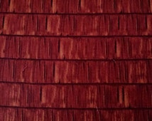3D Look. Wood Shingle Print by Hautman for VIP Cranston. 100% Cotton Fabric. Crimson Brown, Quilting, Home Decor, Accents and More