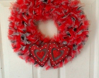 Two Hearts Tulle Wreath