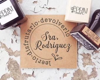 Estampilla de Maestra- Spanish Teacher Stamp- Read Love Return- Leerlo Disfrutarlo Devolverlo- Libro de Espanol Estampilla-  10281