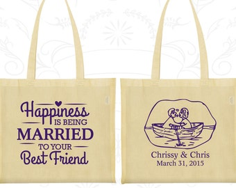 Happiness is Being Married to your Best Friend, Customized Canvas Bag Tote, Bride and Groom Bags, Nautical Wedding Bags, Tote Bags (513)