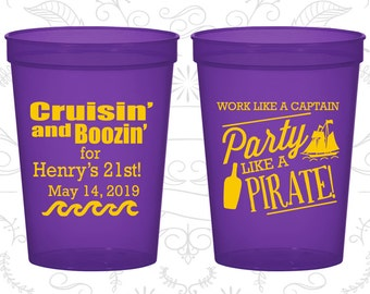 21st Birthday Party Cups, Promotional Party Cups, Work like a captain party like a pirate, Pirate Birthday Cups, Birthday Party Cups (20184)