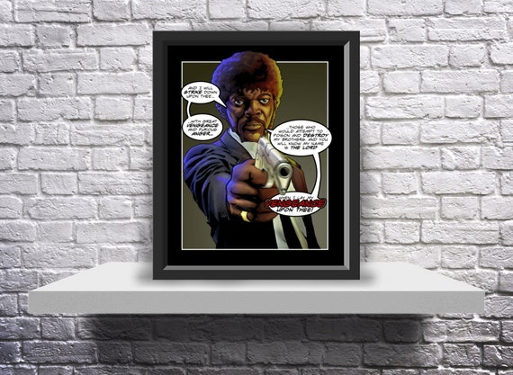 Pulp Fiction Jules Winnfield (Samuel L. Jackson) Print Poster - Choose Size, Speech Bubbles, and Frame