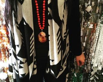 Agate & Druzy Pendant Necklace