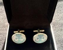 Men's blue coloured anchor silver coloured cufflinks