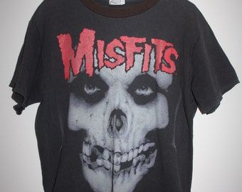 MISFITS Black Punk Rock Faded T-shirt