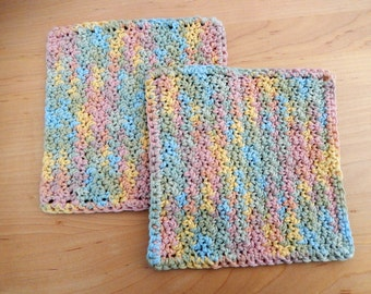 Dish Cloths Wash Cloths (2) Rainbow Pastel .. COTTON .. Ready to Ship