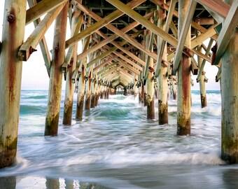 """Ocean Wall Art, Pier Art, Surf Decor, Photography, Pier Print, Beach Wall Art, Nautical Decor, Beach Print, Landscape - """"Peer Inside"""""""