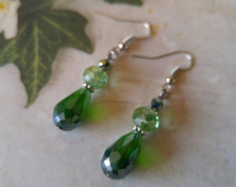 Green Teardrop Earrings