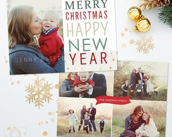 Holiday Christmas Card Template for Photographers - Photoshop Template - 5x7 Photo Card 035 - C314, INSTANT DOWNLOAD